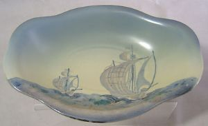 Carlton Ware 'Galleon' Light Blue Revo Bowl - 1930s  - SOLD
